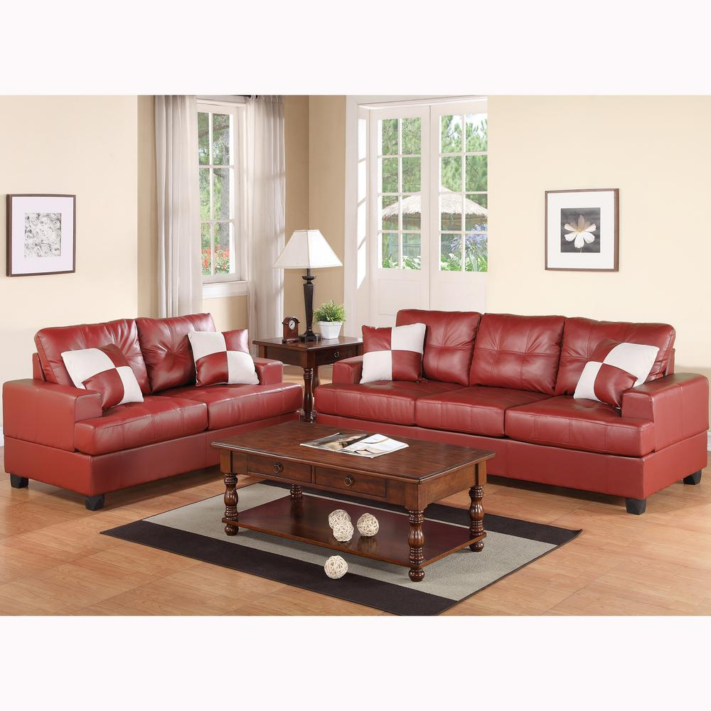 Venetian Worldwide Burgundy Red Sofa Set Bonded Leather