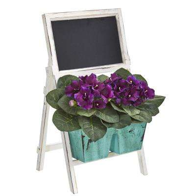 26 in. Indoor Gloxinia Artificial Plant in Farmhouse Stand and Chalkboard