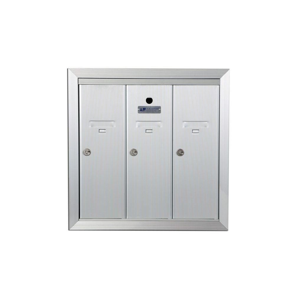 1250 Vertical Series 3-Compartment Aluminum Recess-Mount Mailbox