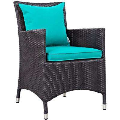Convene Wicker Outdoor Patio Dining Chair in Espresso with Turquoise Cushions
