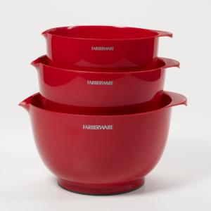 Click here to buy Farberware Classic Red Mixing Bowls (Set of 3) by Farberware.