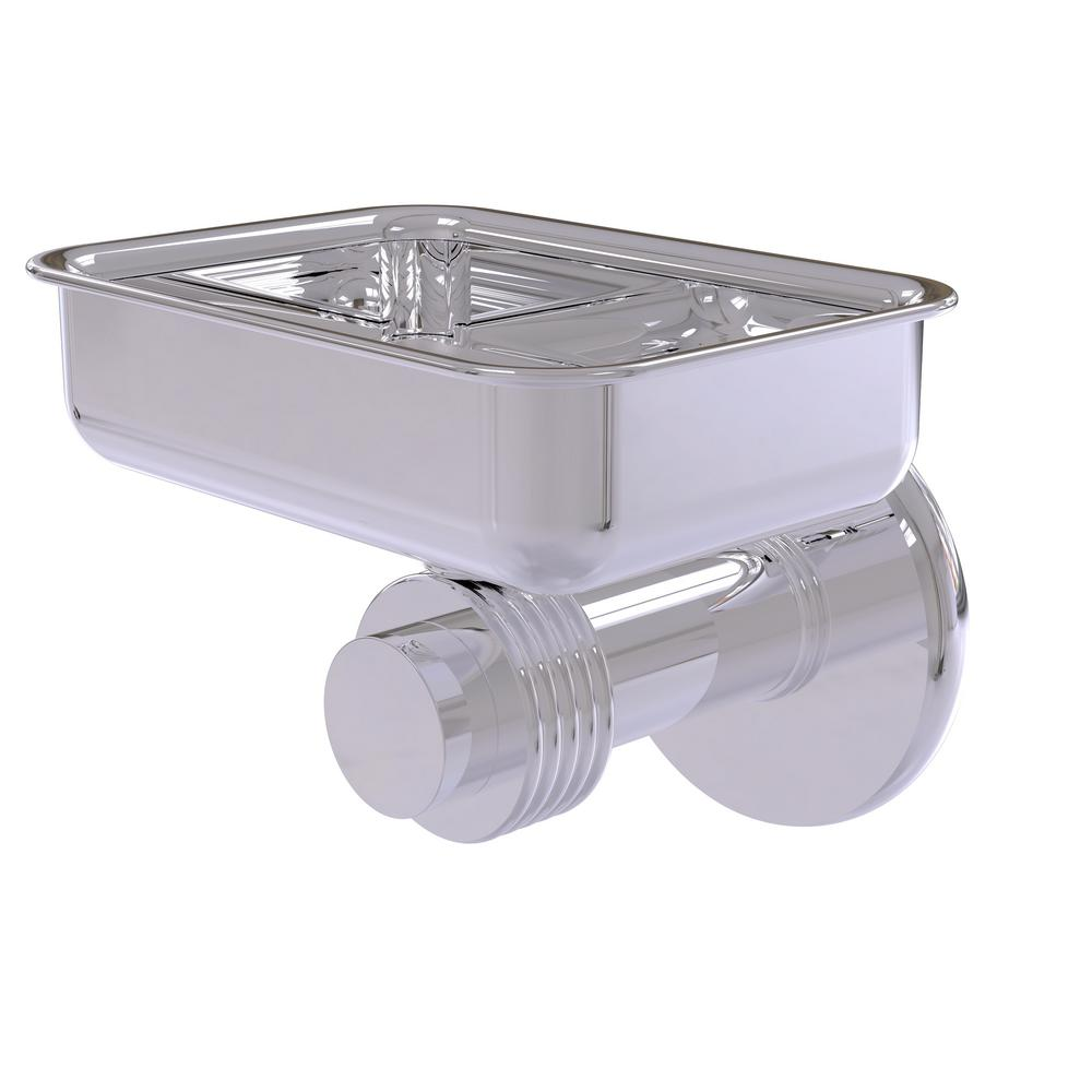 Mercury Collection Wall Mounted Soap Dish with Groovy Accents in Polished
