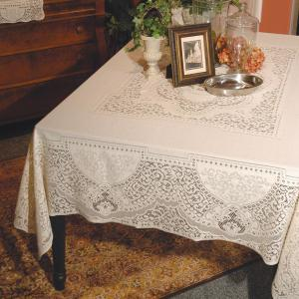 Canterbury Classic Rectangle ECRU Cotton Tablecloth
