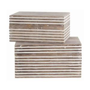 Whitewash Block Stripe Pattern 2-Piece Rectangular Wooden Jewelry Box