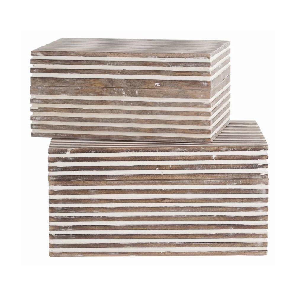 Whitewash Block Stripe Pattern 2-Piece Rectangular Wooden Jewelry Box