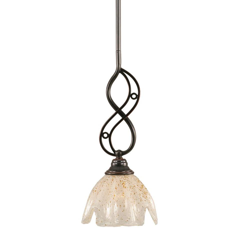 1-Light Black Copper Pendant with Gold Ice Glass