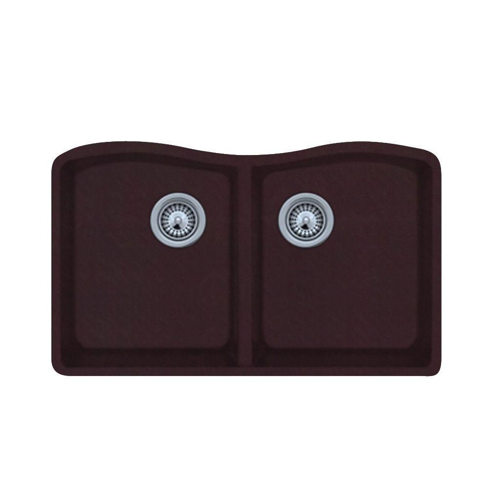 Undermount Granite 32 in. 0-Hole 50/50 Double Bowl Kitchen Sink in Espresso