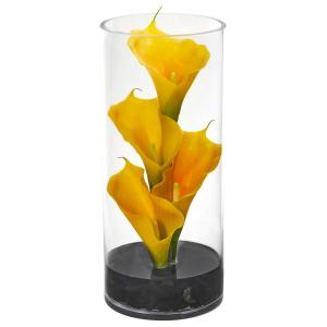Calla Lily Artificial Arrangement in Cylinder Glass Vase