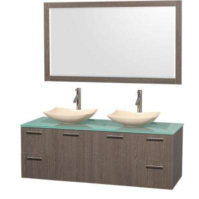 Amare 60 in. Double Vanity in Gray Oak with Glass Vanity Top in Green, Marble Sinks and 58 in. Mirror