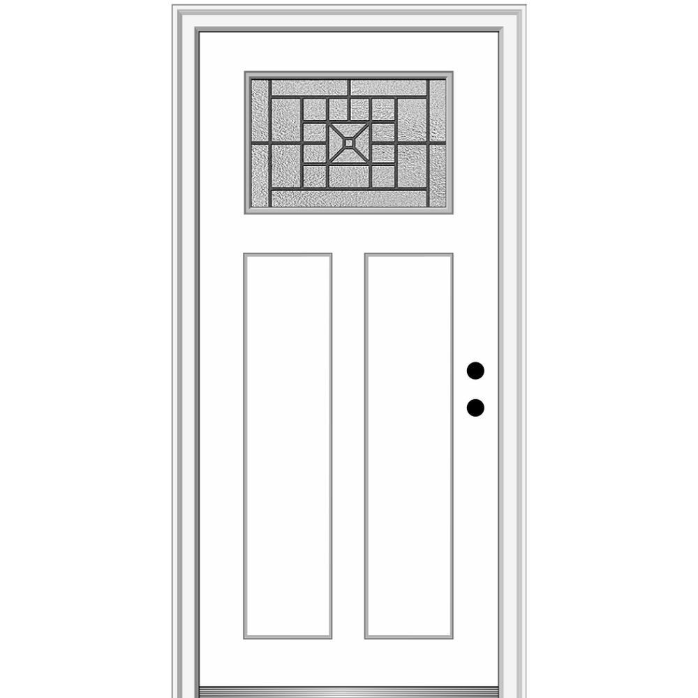 32 in. x 80 in. Courtyard Left-Hand 1-Lite Decorative Craftsman 2-Panel Painted Fiberglass Smooth Prehung Front Door