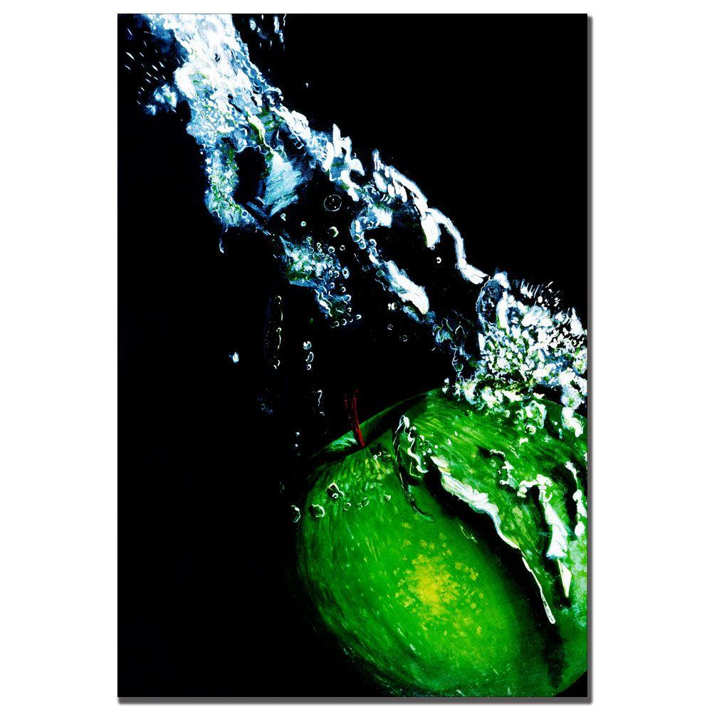 Trademark Fine Art 22 in. x 32 in. Apple Splash by Roderick Stevens Canvas Art