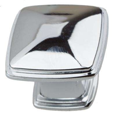 1-1/4 in. Polished Chrome Square Deco Cabinet Knobs (10-Pack)