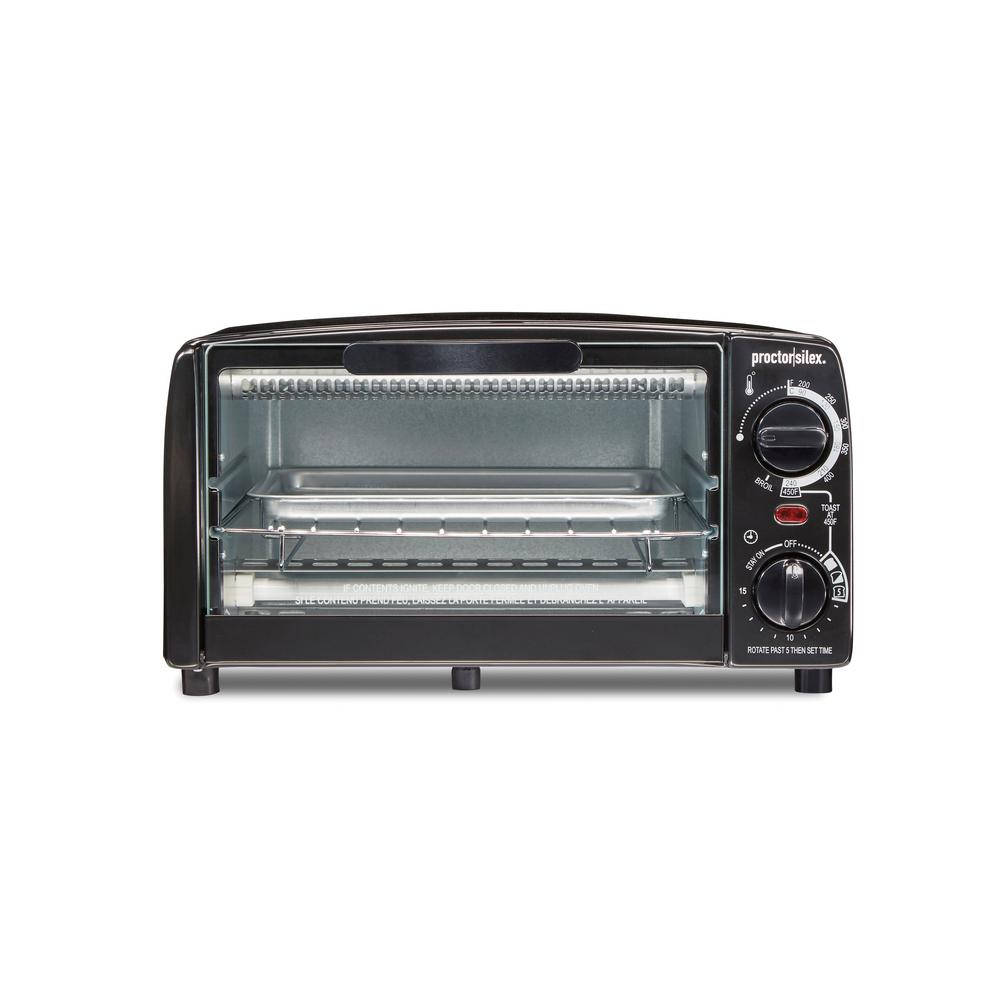 Proctor Silex 1000 W 4 Slice Black Toaster Oven With Broiler And Temperature Control 31118r The Home Depot