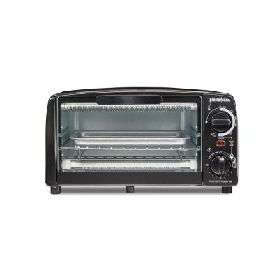 1000 W 4-Slice Black Toaster Oven with Broiler and Temperature Control