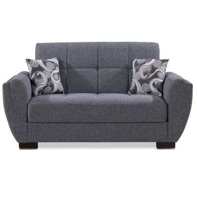 Armada Air Gray Fabric Upholstery Convertible Love Seat with Storage