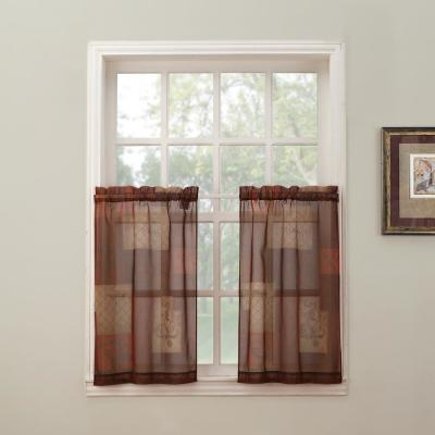 Sheer Multi Eden Printed Textured Sheer Kitchen Curtain Tiers, 56 in. W x 24 in. L