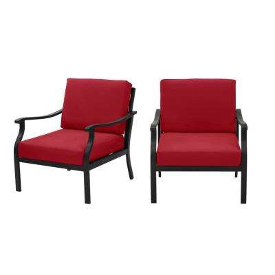 Riley Black Steel Outdoor Patio Lounge Chair with CushionGuard Chili Red Cushions (2-Pack)
