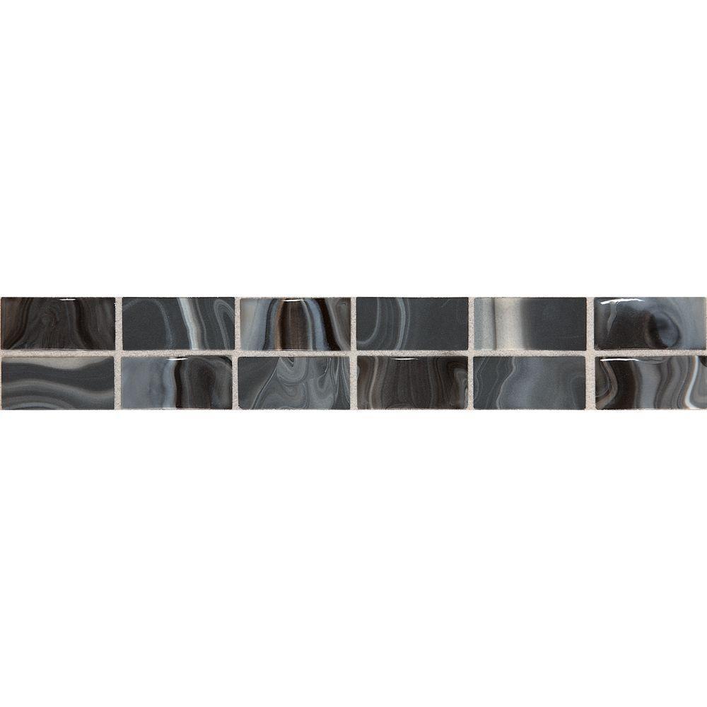 Daltile fashion accents black swirl 2 in x 12 in ceramic daltile fashion accents black swirl 2 in x 12 in ceramic decorative accent wall dailygadgetfo Gallery