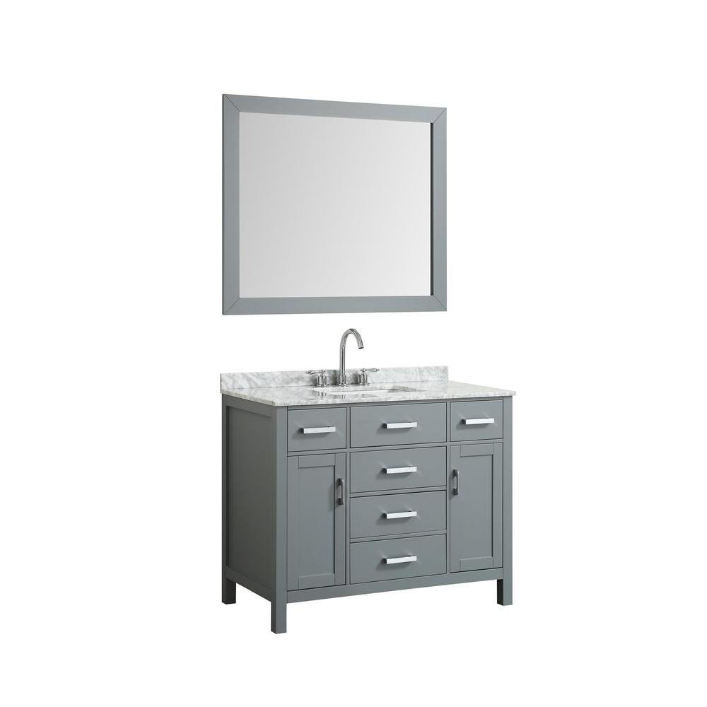 Bath Vanity In Gray With Marble Vanity Top