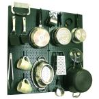 Kitchen Pegboard 32 in. x 32 in. Metal Peg Board Pantry Organizer Kitchen Pot Rack Green Pegboard and Blue Peg Hooks