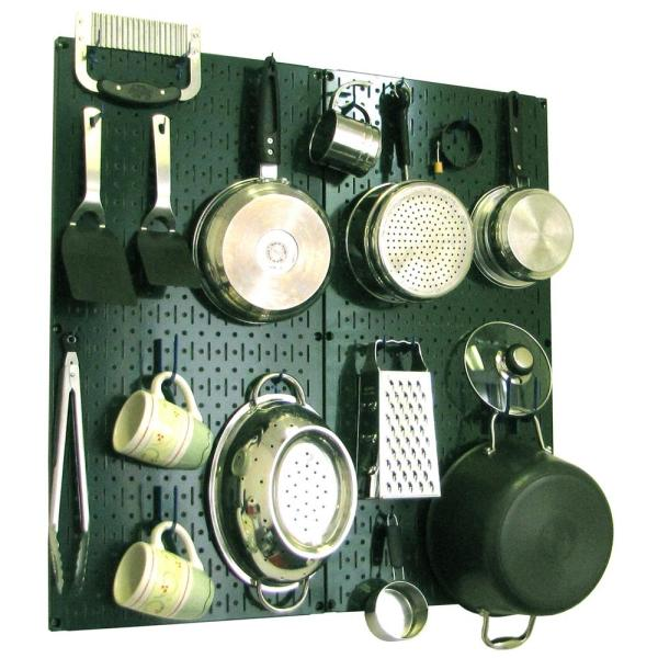 Wall Control Kitchen Pegboard 32 in. x 32 in. Metal Peg Board Pantry Organizer Kitchen Pot Rack Green Pegboard and Blue Peg Hooks