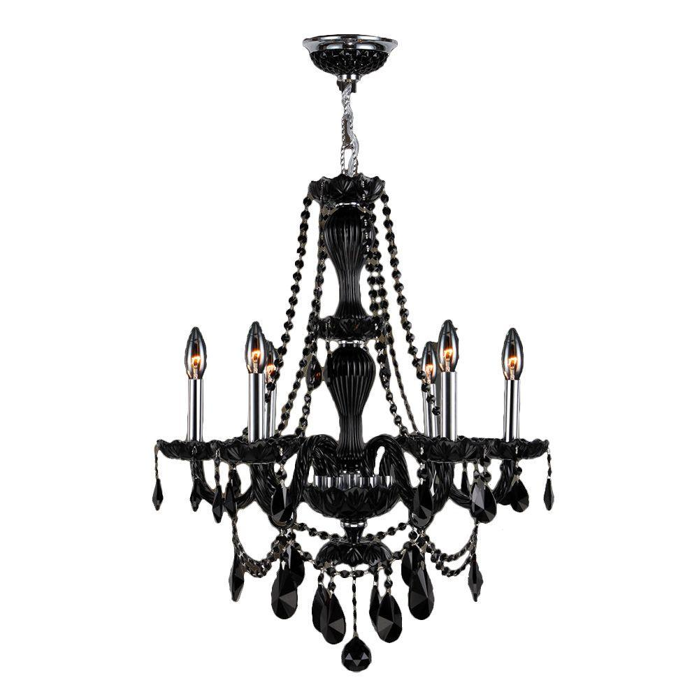 Provence 6 Light Polished Chrome And Black Crystal Chandelier