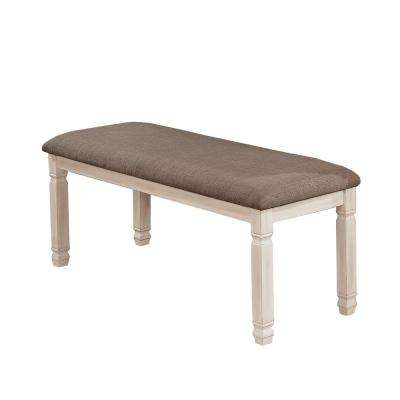 Nina Antique White Fabric Bench