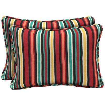 22 x 15 Ruby Abella Stripe Oversized Lumbar Outdoor Throw Pillow (2-Pack)