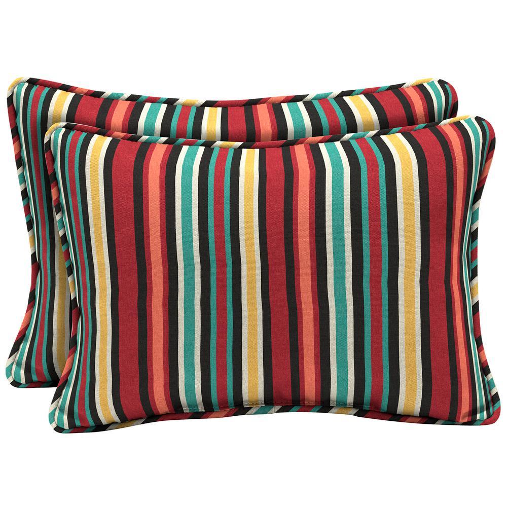Ruby Abella Stripe Oversized Lumbar Outdoor Throw Pillow (2-Pack)