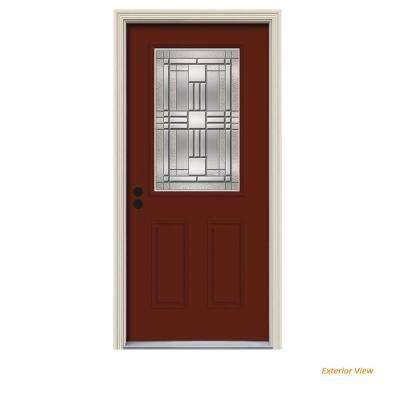 36 in. x 80 in. 1/2 Lite Cordova Mesa Red Painted Steel Prehung Right-Hand Inswing Front Door w/Brickmould