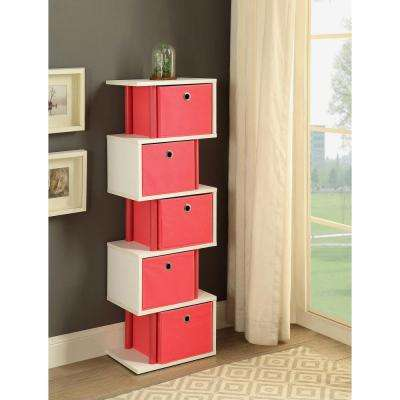Zig Zag 15 in. W x 11.6 in. D Pink and White Drawer Storage