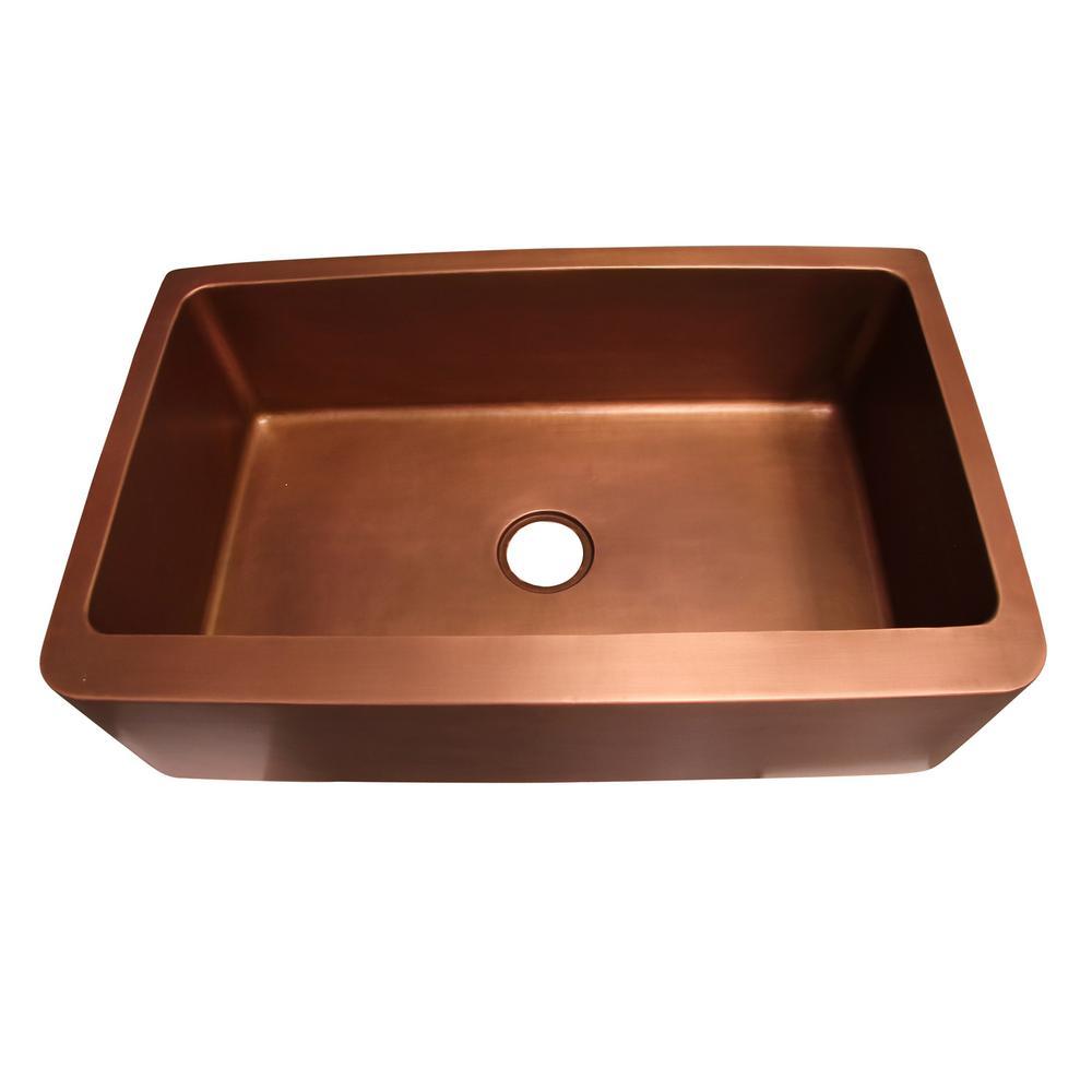 Austin Farmhouse Apron Front Copper 25 in. Single Bowl Kitchen Sink