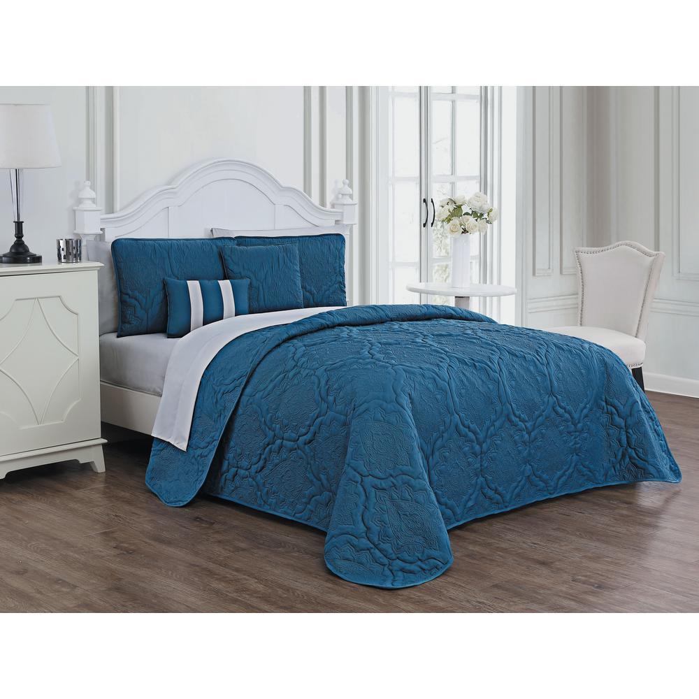 Nolie 9-Piece Blue/Light Grey King Quilt Set
