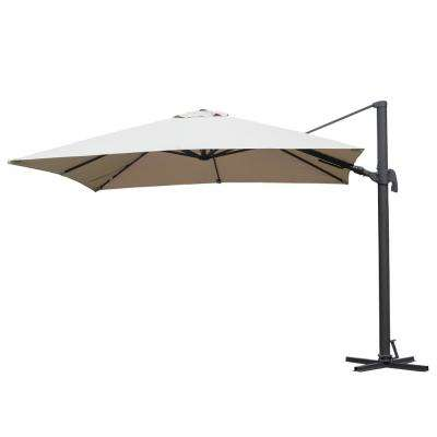 Free Pole Square 10 ft. x 10 ft. Aluminum Frame Patio Umbrella in Brown