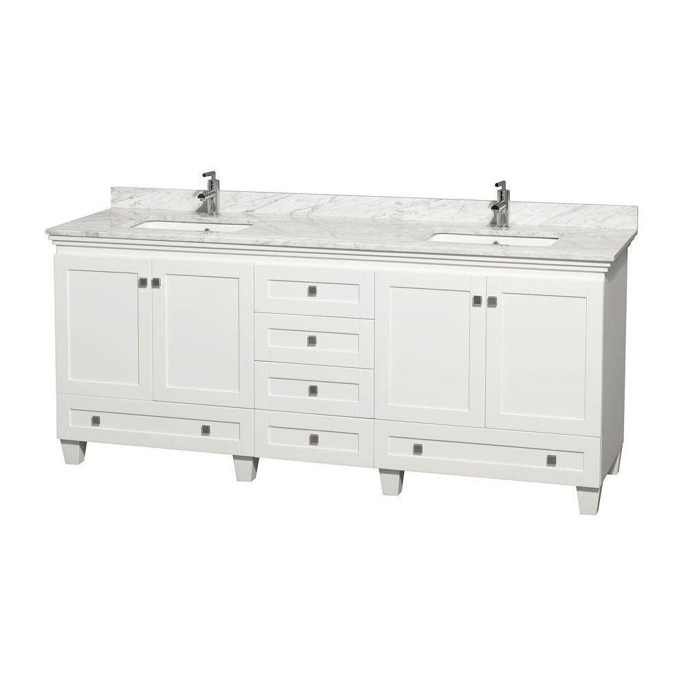 Wyndham Collection Acclaim 80 In Double Vanity White With Marble Top Carrara