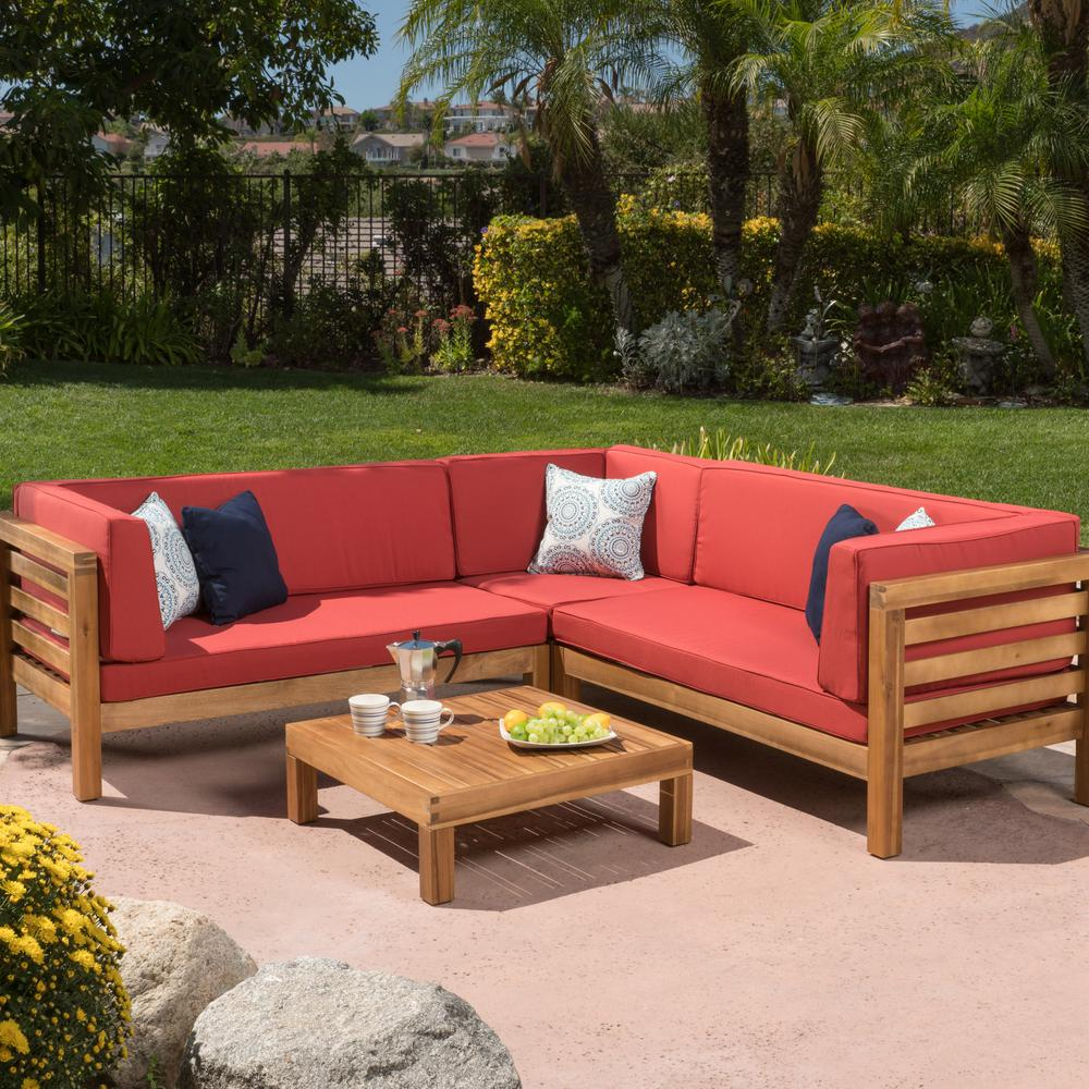 Noble House Oana Teak Finish 4-Piece Wood Outdoor Sectional Set with ...