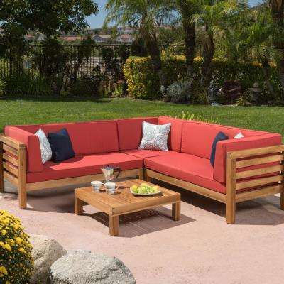 Oana Teak Finish 4-Piece Wood Outdoor Sectional Set with Red Cushions