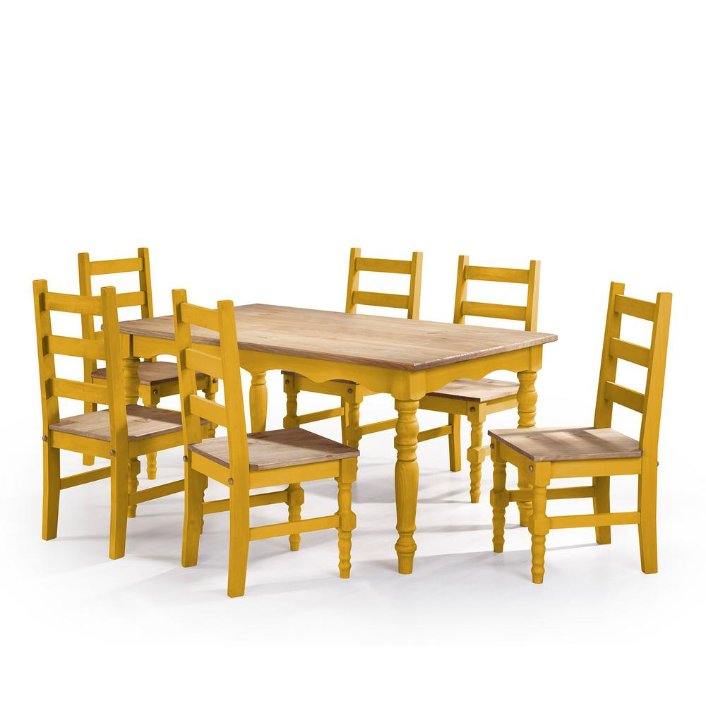Manhattan comfort jay 7 piece yellow wash solid wood for Solid wood dining set