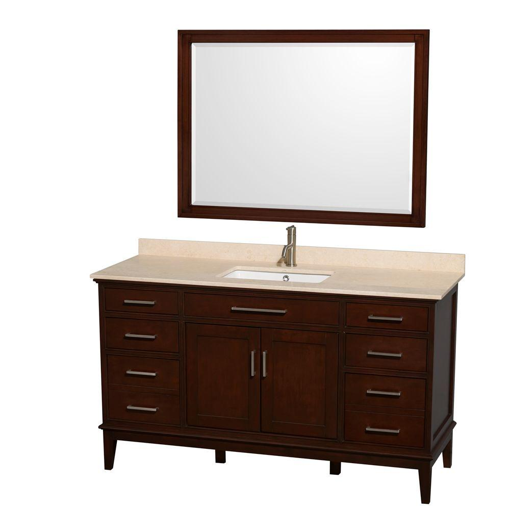 Wyndham Collection Hatton 60 in. Vanity in Dark Chestnut with Marble Vanity Top in Ivory, Square Sink and 44 in. Mirror