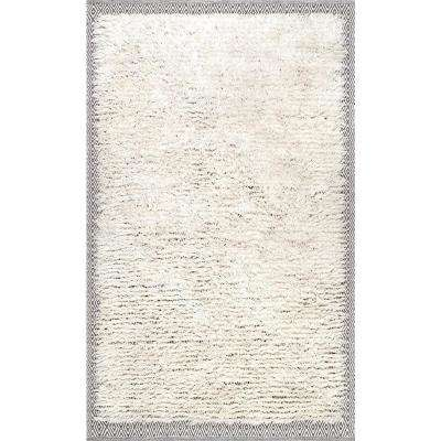 Moroccan Diamond Shearer Shaggy Ivory 7 ft. 6 in. x 9 ft. 6 in. Area Rug