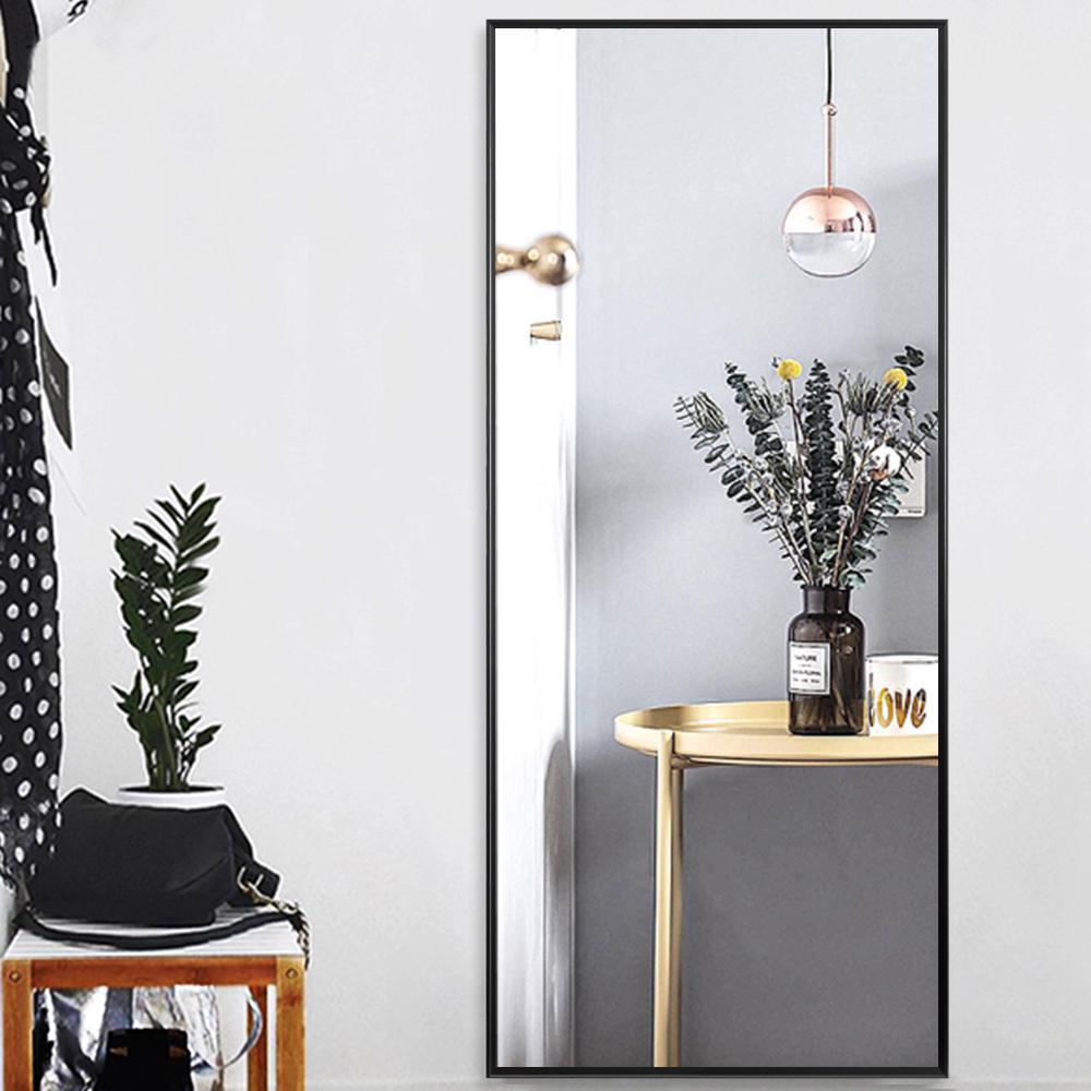 Neutype Black Aluminum Alloy Thin Frame Full Length Floor Mirror
