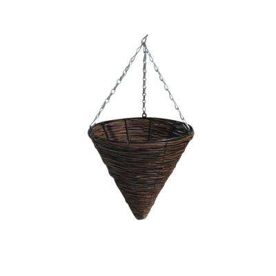 Willow 15 in. H x 14 in. W Brown Cone Hanging Basket