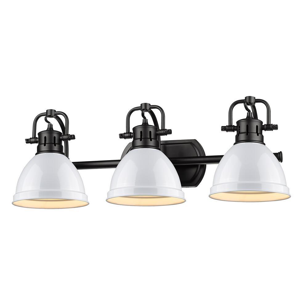 Golden Lighting Duncan 3-Light Black Bath Light with White Shade