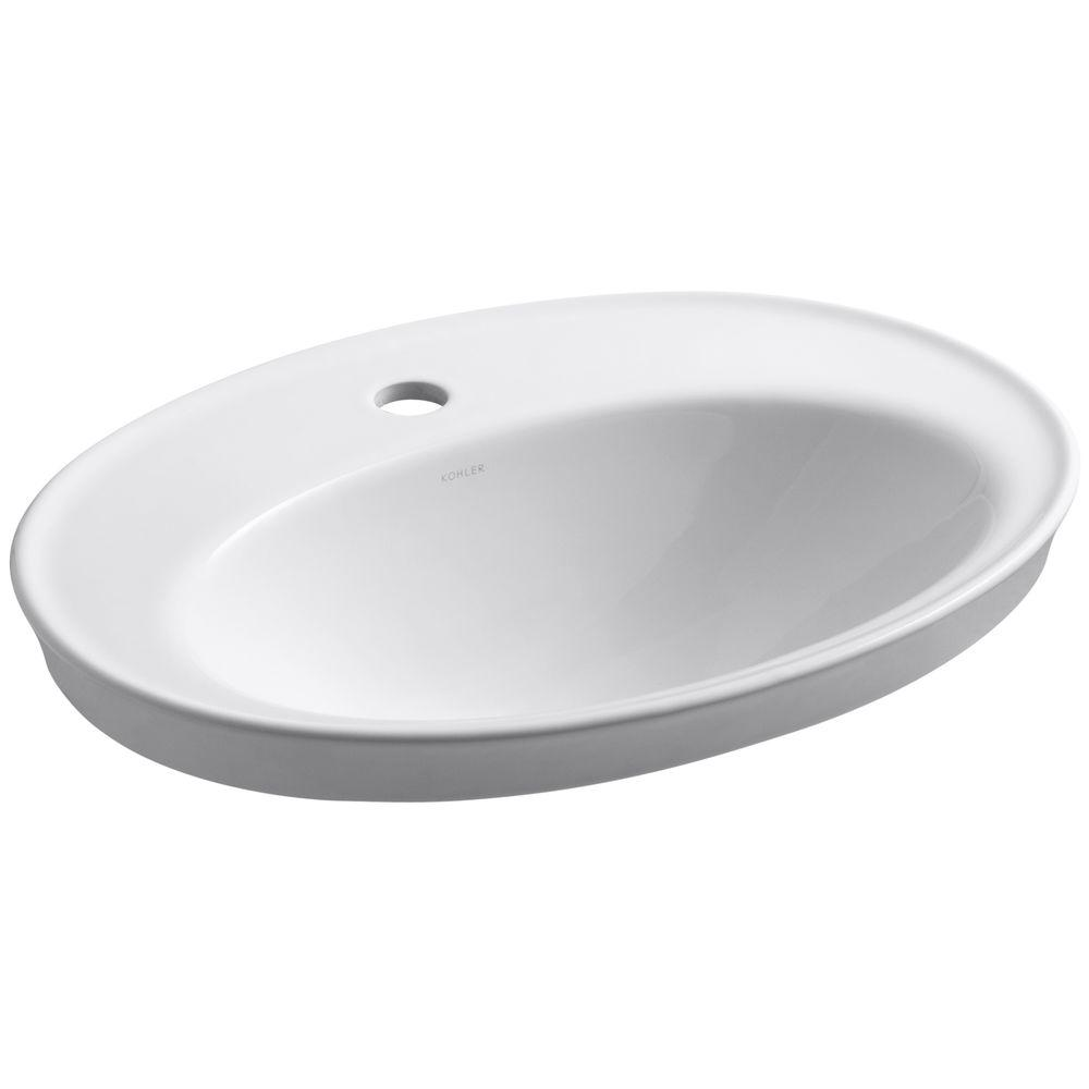 Oval Dropin Bathroom Sinks Bathroom Sinks The Home Depot - Drop in bathroom sink replacement