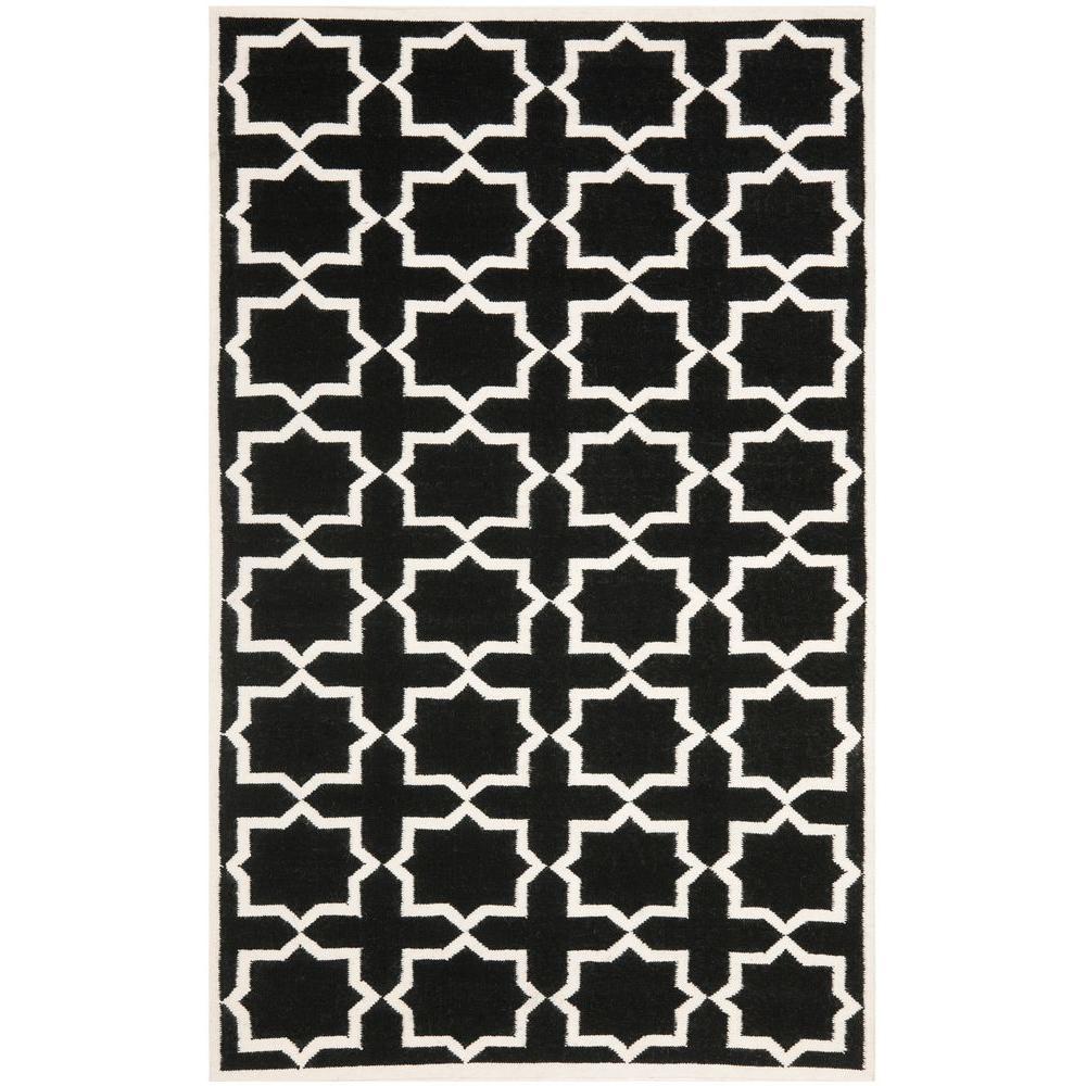 Safavieh Dhurries Black/Ivory 8 ft. x 10 ft. Area Rug