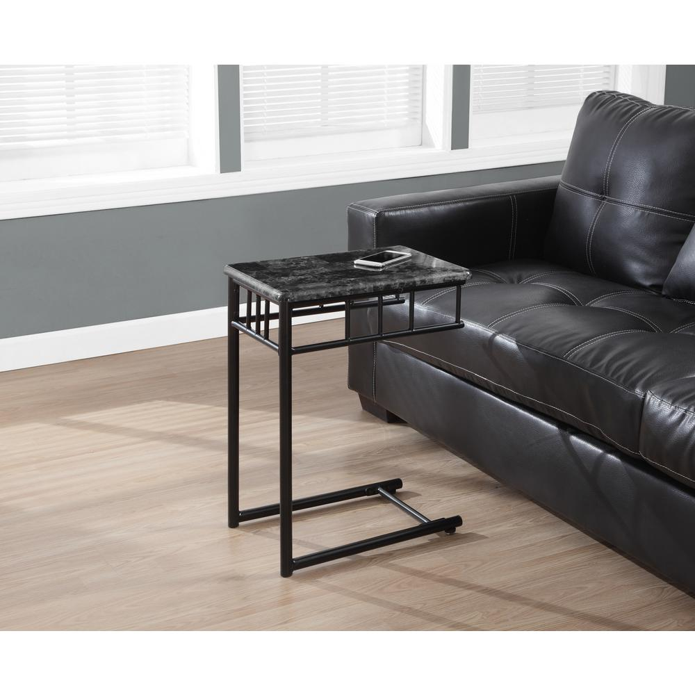 Monarch Specialties Charcoal Marble Top End Table