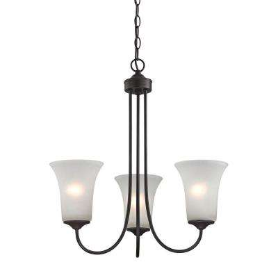 Charleston 3-Light Oil-Rubbed Bronze Chandelier With White Glass Shades