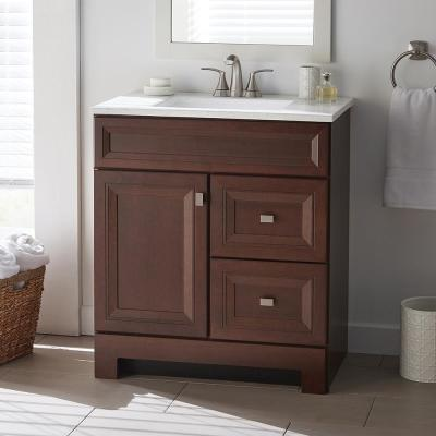 Sedgewood 30-1/2 in. W Bath Vanity in Dark Cognac with Solid Surface Technology Vanity Top in Arctic with White Sink