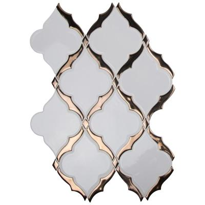 Victorian Light Arabesque 14.13 in. x 10.59 in. x 8mm Glossy Porcelain Mesh-Mounted Mosaic Tile (10.4 sq. ft./case)