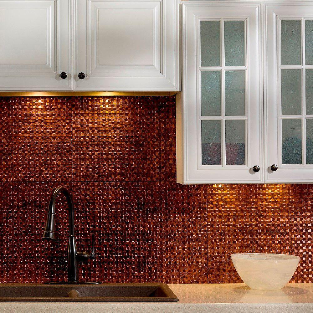 24 in. x 18 in. Terrain PVC Decorative Tile Backsplash in Moonstone Copper